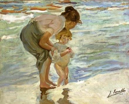 Madre e hijo en la playa. Joaquín Sorolla